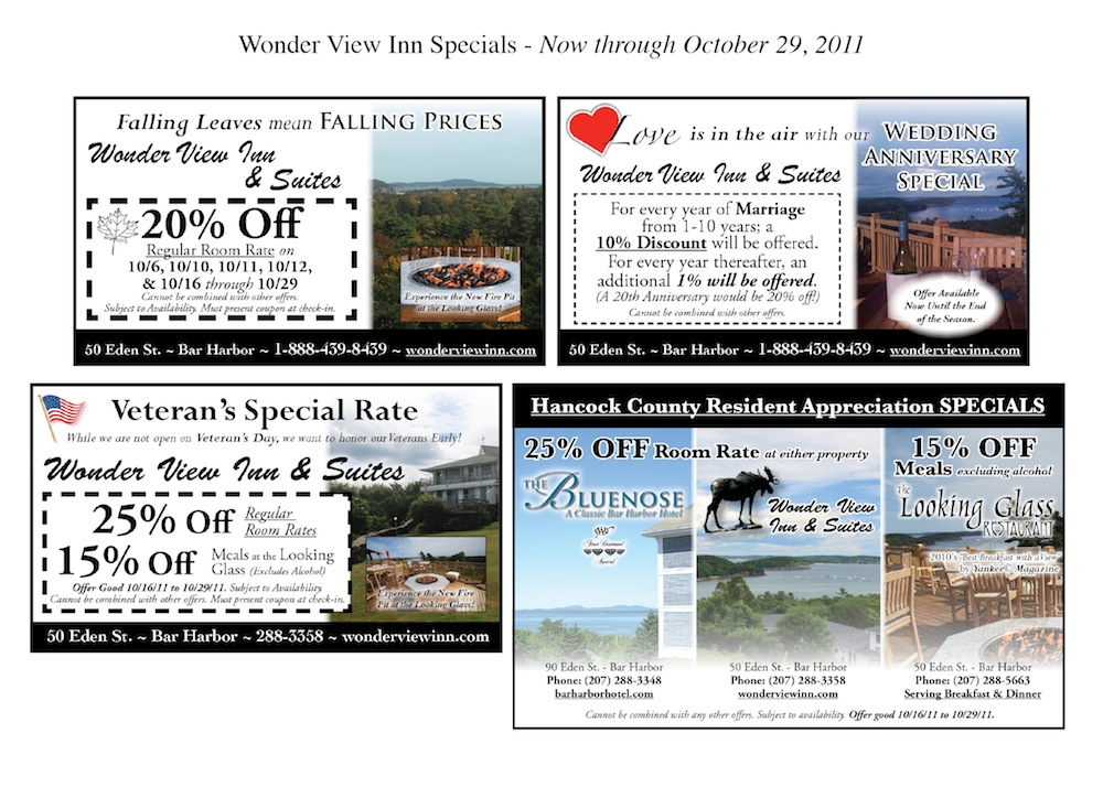 Wonder View Inn - Bar Harbor Specials
